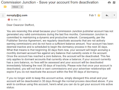 Deactivation Email from Commission Junction