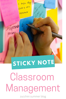 Teacher classroom management tips using post-it notes for blurting out, cheap sit spots, and book bin labels
