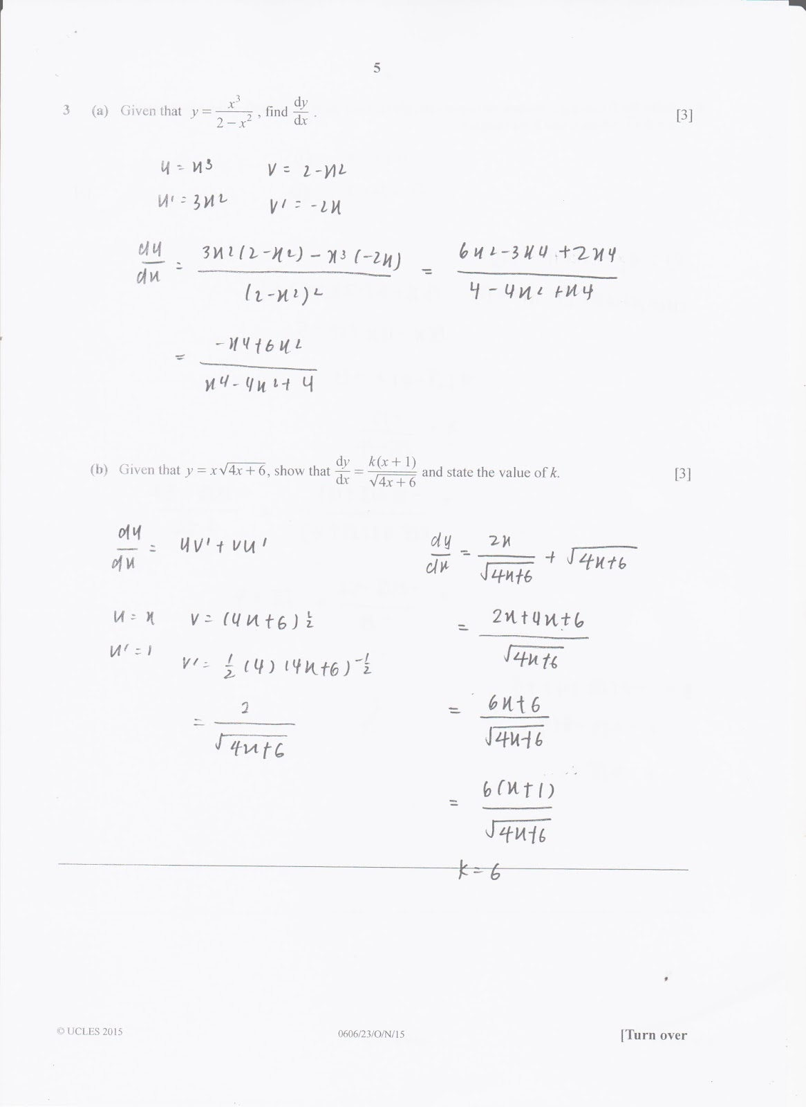 IGCSE Add Maths Working Answers [0606/23] Paper 2 2015