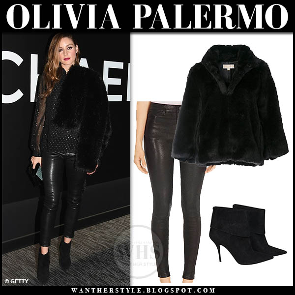 Olivia Palermo in black faux fur michael kors jacket, black leather j brand pants and suede ankle dior reverso boots chic celebrity style february 5