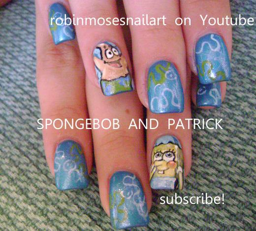 Nail Art By Robin Moses The Incredibles Nails Spongebob Nails