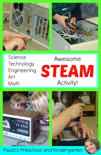 Awesome STEAM activities for kids! See how some old junk was transformed into learning for this group of preschool children!