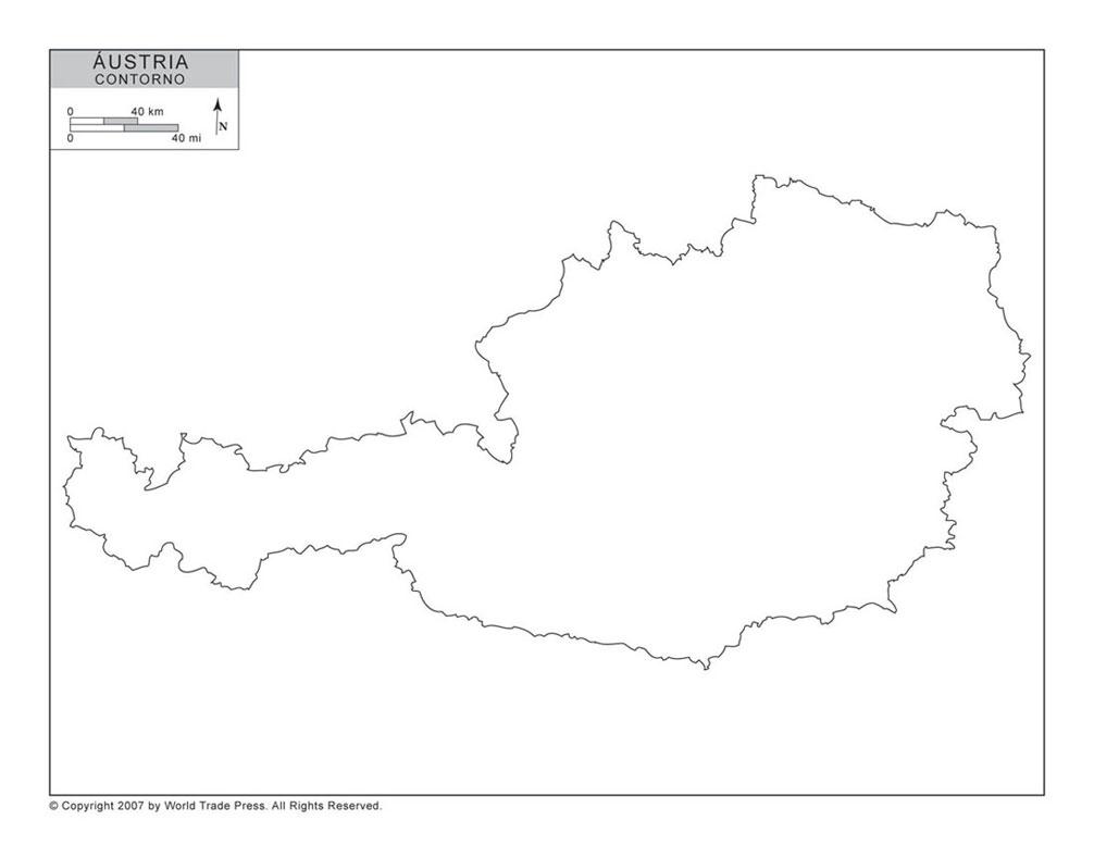 Mapa da Áustria com Contorno