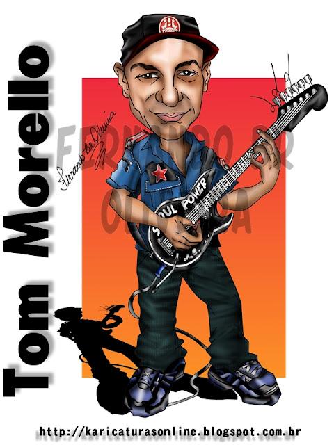 Caricatura Tom Morello Guitarrista da Banda RAGE AGAINST THE MACHINE