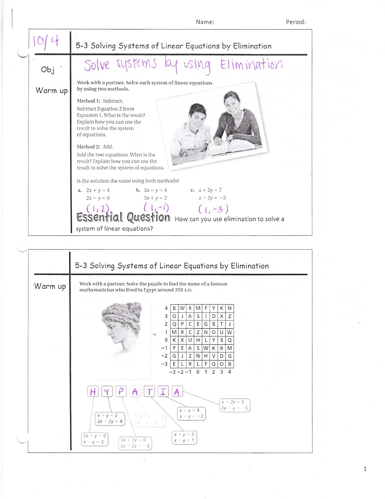 Ms Jean S Accel 7 Blog 5 3 Solving Systems Of Linear
