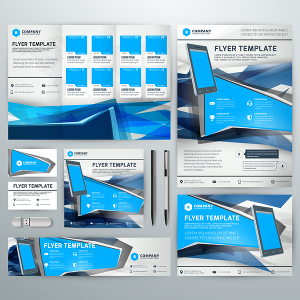 Electronic product flyer template vector 03