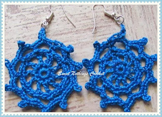 crochet ear ring, free crochet pattern, jewellery, doiley ear ring, anchor knitting cotton, red rose knitting cotton