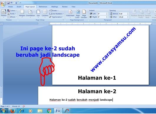 Hasil Penggabungan Page Layout Potrait dan Landscape dalam Satu Dokumen Word