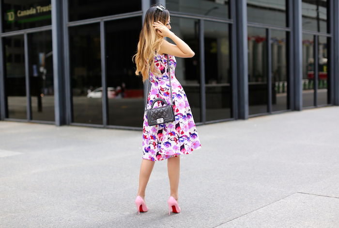 Teri jon floral print dress, chanel boy bag, quay sunglasses, christian louboutin so kate pumps, wedding guest dress, the best july4th sales, the best independence day sales