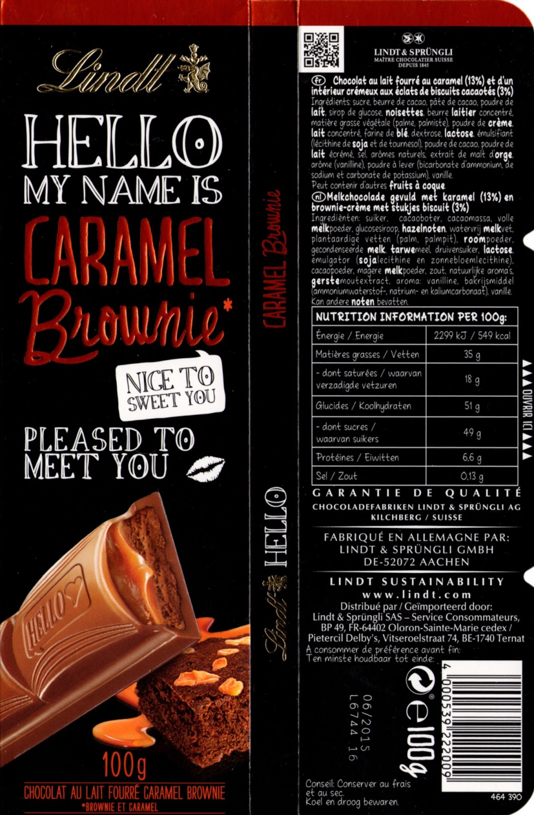 lindt hello my name is caramel brownie tablette de choc. Black Bedroom Furniture Sets. Home Design Ideas