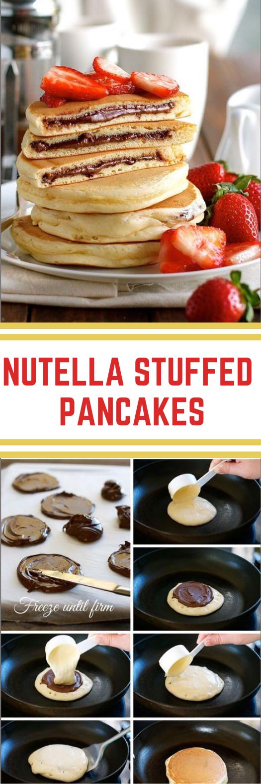 Nutella Stuffed Pancakes #pancake #dessert
