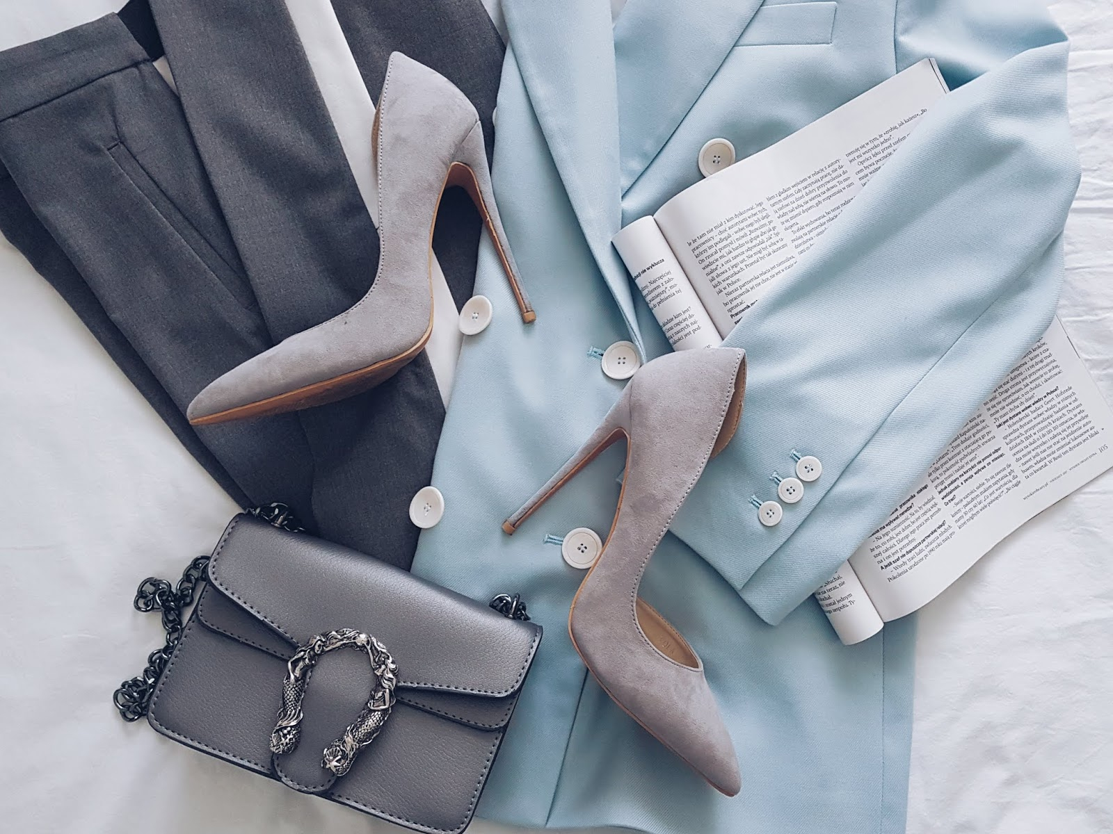 Zara blues czyli dwurzędowy blazer i spodnie z lampasami