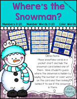 Where's the Snowman? Numbers 0-20, Number Words, Color Words, www.JustTeachy.com