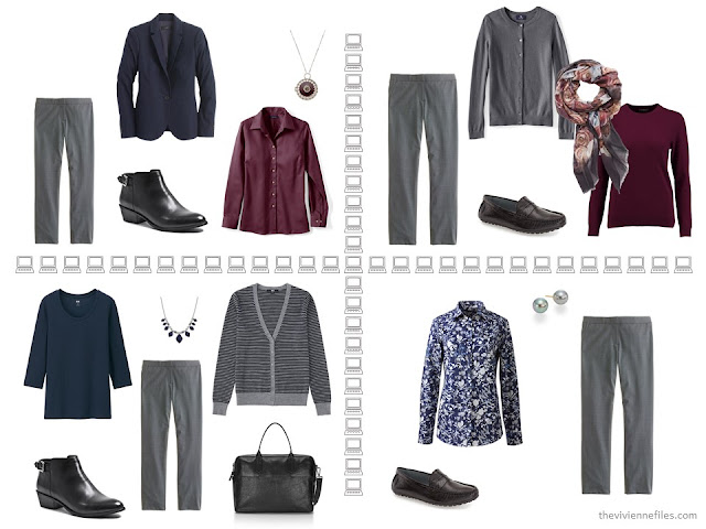 Four business outfits based on grey trousers, from a capsule wardrobe of navy, grey and burgundy.