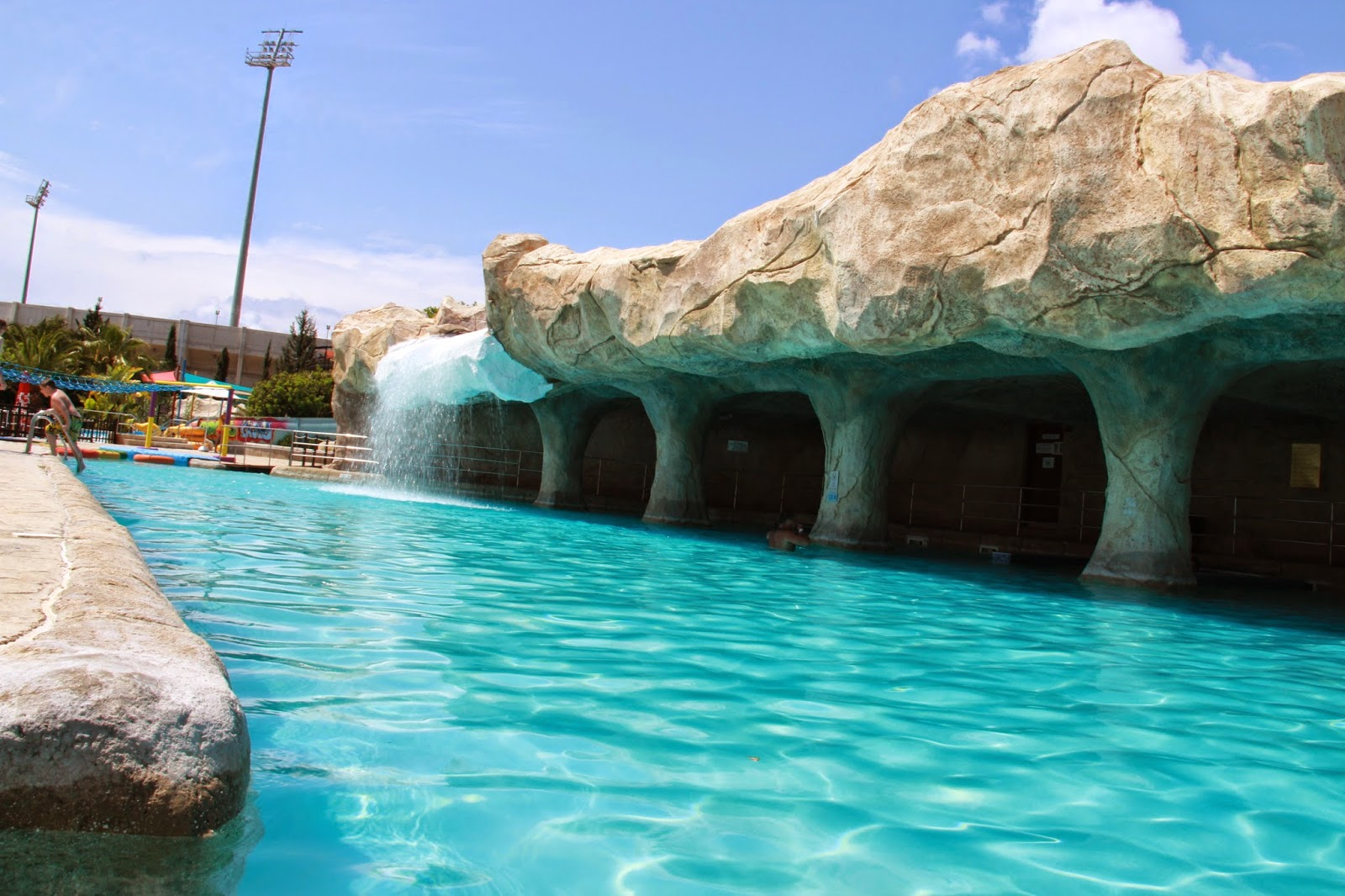 cool man made caves with waterfall and jacuzzi at Aphrodite Water Park