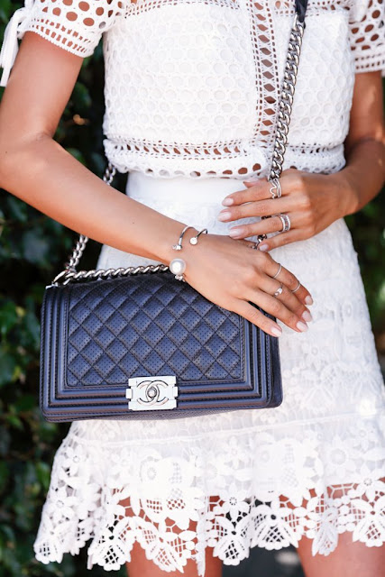 Viva Luxury - Self-Portrait Mesh Paneled Tee + Chanel Boy Bag