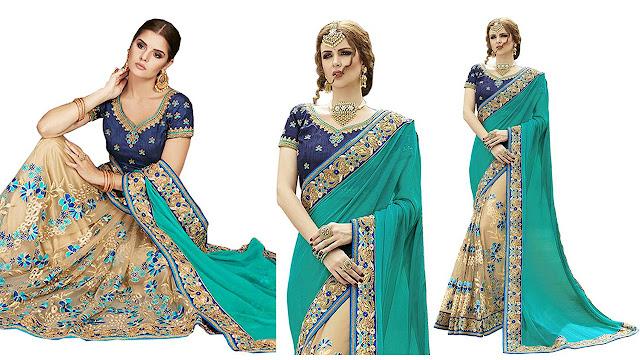 Zofey Self Design, Embroidered Bollywood Georgette, Net Saree  (Light Green, Beige)
