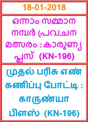 Kerala lottery First Prize Guessing competition KARUNYA PLUS KN-196