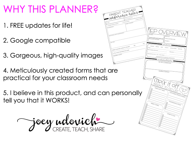 Reasons why to use this planner - 1) FREE updates for life, 2) Google compatible, 3) gorgeous, high quality images, 4) meticulously created forms that are practical for your classroom needs, 5) Joey Udovich's approval that this product WORKS!