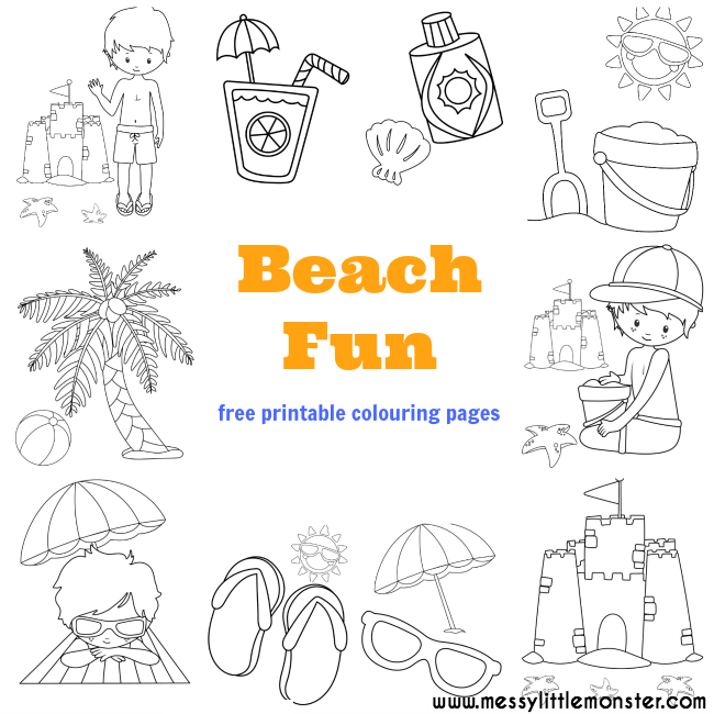 Beach colouring pages free messy little monster for Summer themed coloring pages