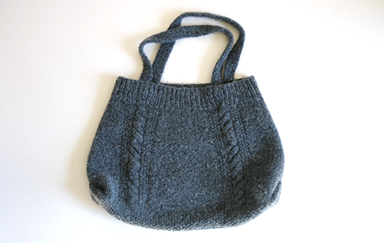Blue Felted Tote Bag Made from Knit Cabled Skirt and Straps