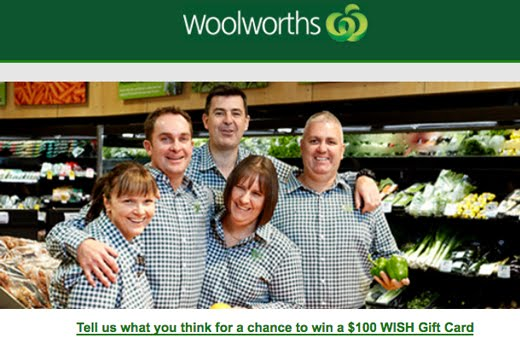 A screen shot of an email that requests Woolworths experience feedback.