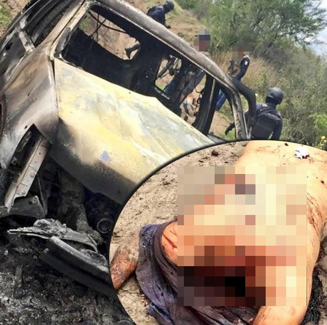 En Miguel Aleman, Tamaulipas localizan camioneta calcinada y decapitado a un lado