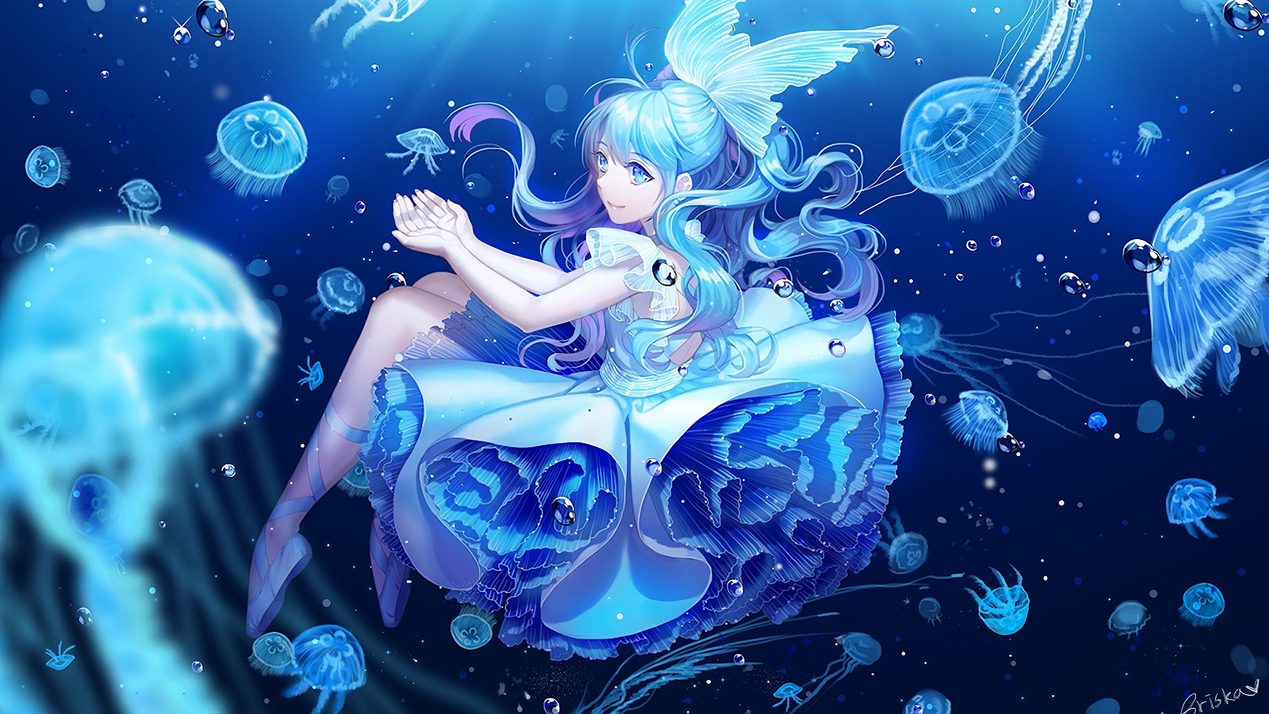 anime girl underwater uhdpaper.com 4K 115