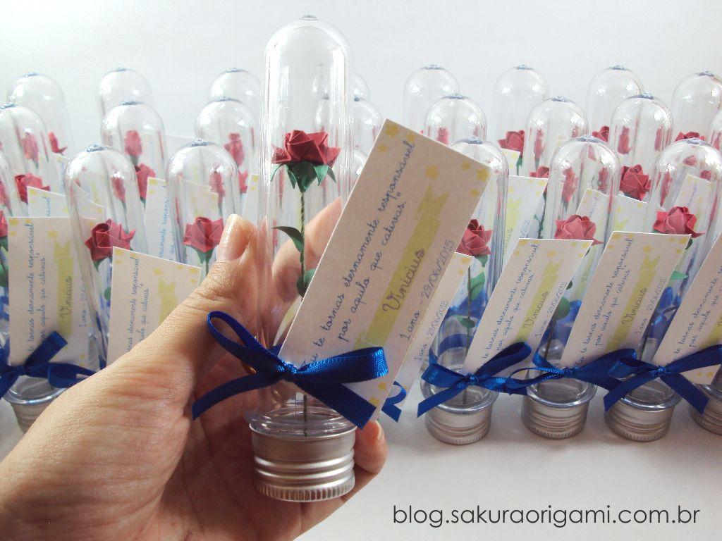 Lembrancinhas Do Pequeno Principe Mini Rosas De Origami No Tubo