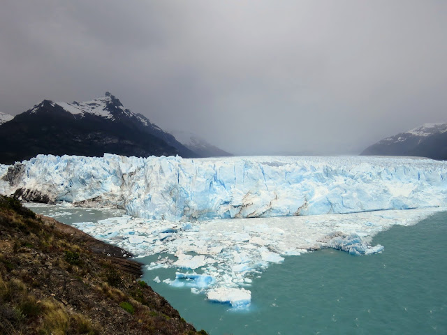 Perito Moreno Glacier with mountains behind in Patagonia