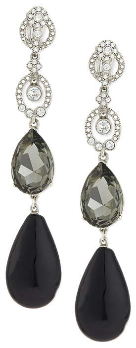 Oscar de la Renta Loop Crystal Drop Earrings