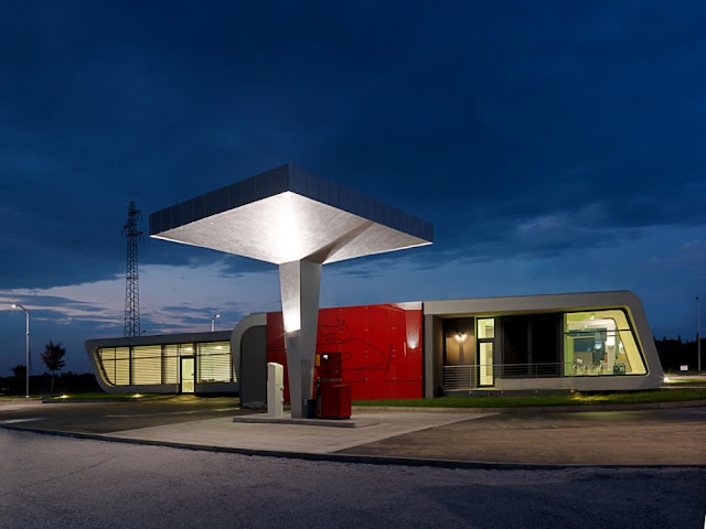 Photo of Gazoline Petrol Station by Damilano Studio Architects at sunset