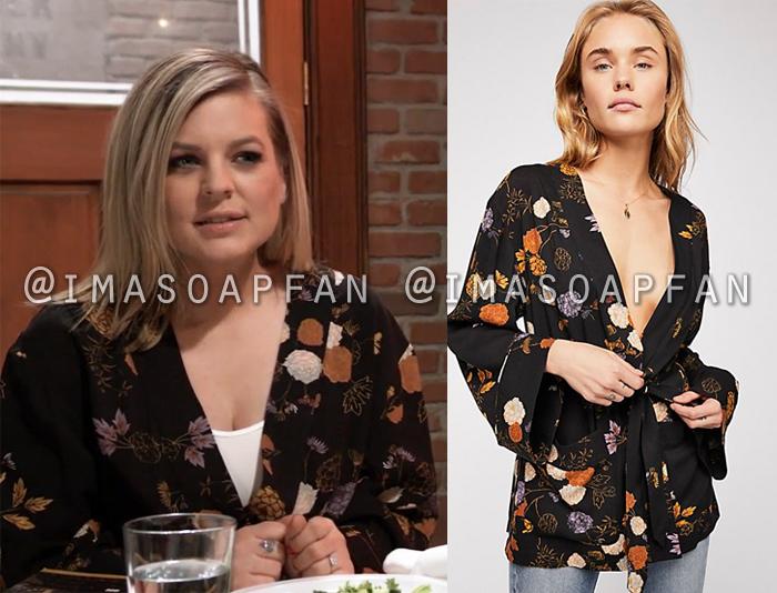 Maxie Jones, Kirsten Storms, Black and Orange Floral Kimono Jacket, General Hospital, GH