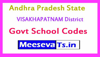 VISAKHAPATNAM District Govt School Codes in Andhra Pradesh State