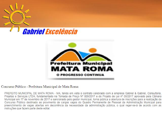 Prefeitura Municipal de Mata Roma abre Concurso Público com vagas para nível fundamental, médio e superior.