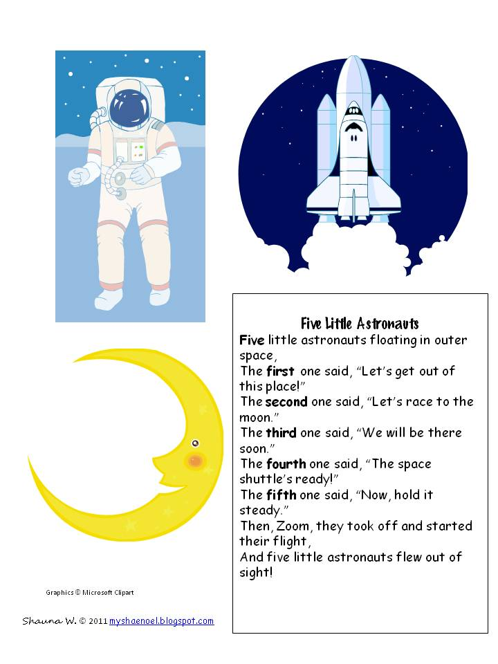Learn and Grow Designs Website: Five Little Astronauts Song