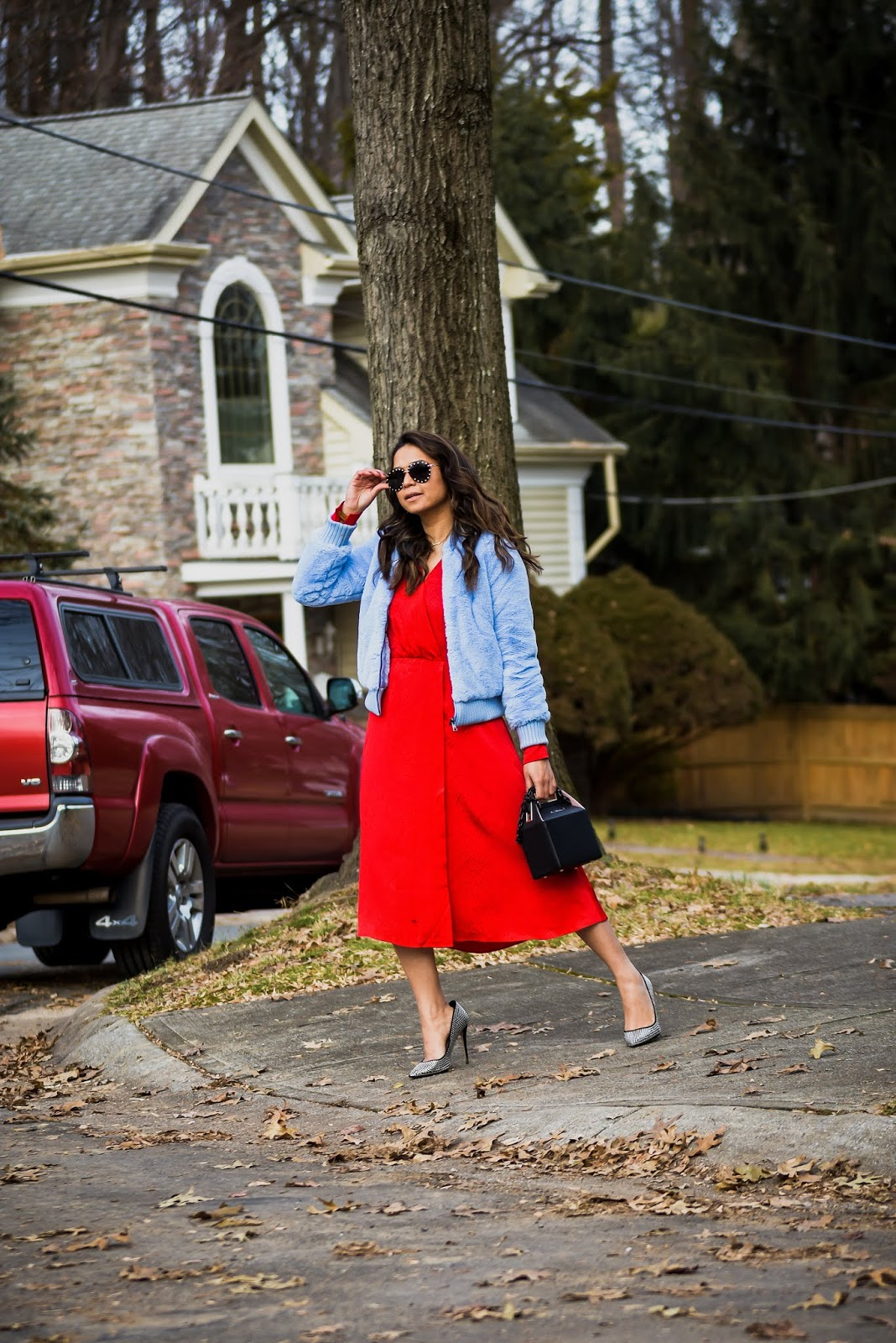 pop and suki bag, red H&M dress, red and blue, fur vest , bomber jacket, street style, hardest things f being an influncer, blogger, entrepreneur, fashion, style, myriad musings, saumya shiohare