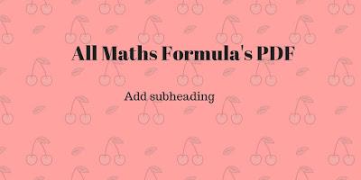 mathematics formula PDF 2017