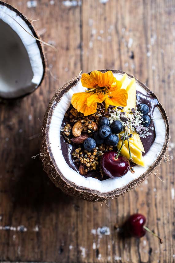 Summer Acai Bowl with Big Cluster Toasted Buckwheat Granola recipe by Hal Baked Harvest