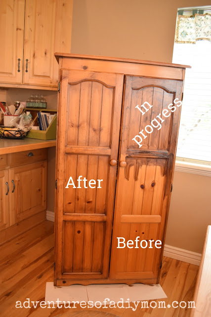 hutch makeover - using gel stain - in progress