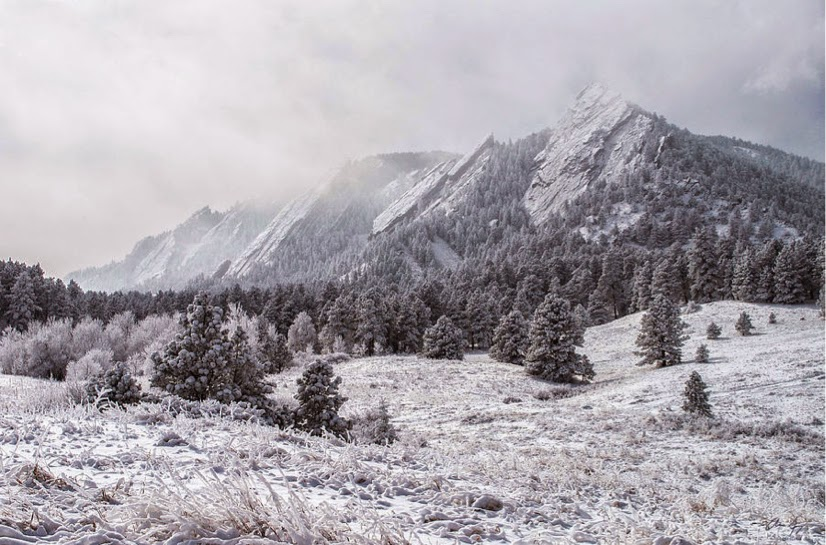 The Boulder Flatirons from Chautauqua Park in Winter with snow