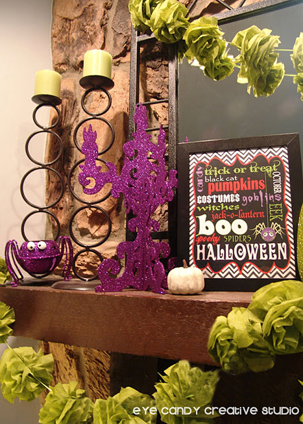 how to glam up your mantel for halloween, halloween mantel decor ideas
