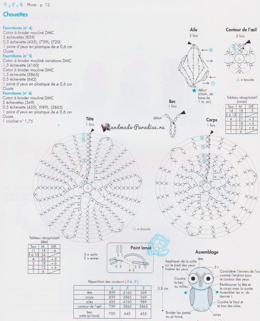 Схемы вязания совушки амигуруми