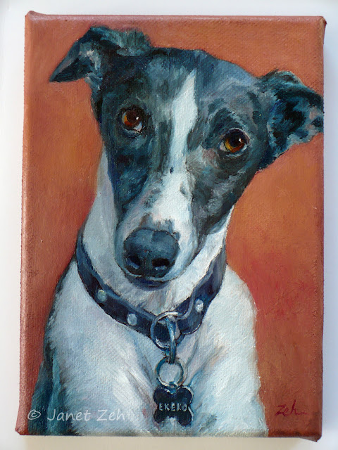 The finished portrait of Ekeko, a beautiful Whippet