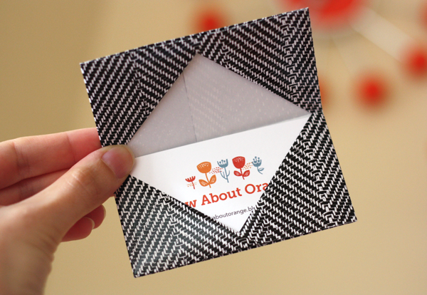 How to make an origami business card holder how about orange to make a holder for a standard 35 x 2 business card start with an 85 square of paper for a standard gift card use a 9 square colourmoves