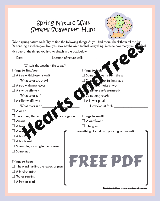 hearts and trees free spring nature walk worksheets. Black Bedroom Furniture Sets. Home Design Ideas