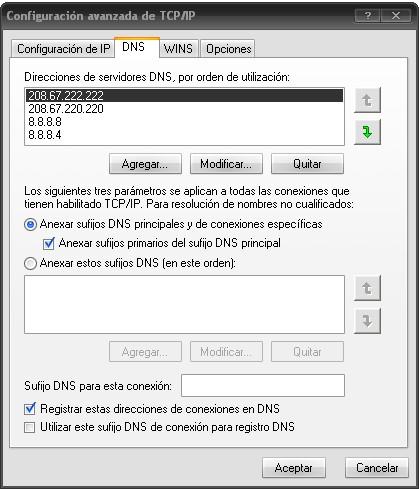 Ventana Configuración avanzada de TCP/IP
