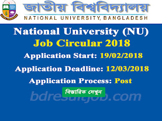 National University (NU) Job Circular 2018