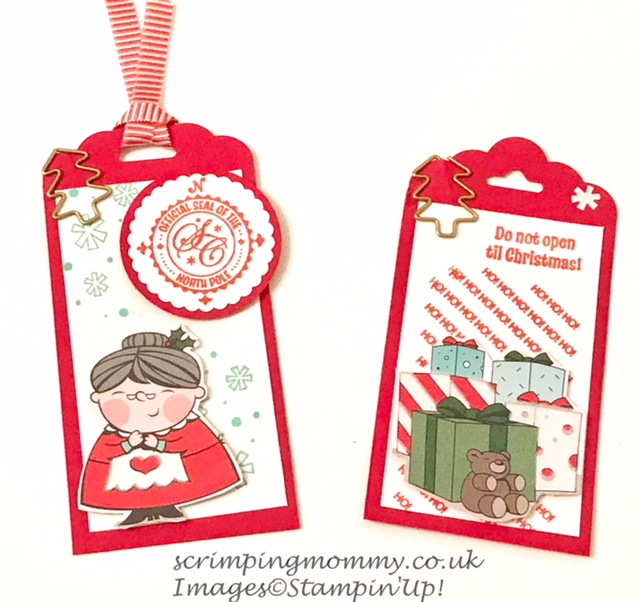 scrimpingmommy: Quick Christmas tags using Santas workshop
