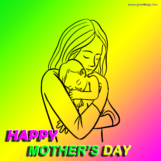 "mothers day greetings image with "" Happy Mother's Day "" English 3d effect text, Mother holding baby line art"